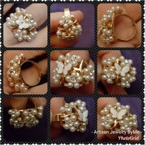 Butterfly Crystals-Pearls-Faux, Golden Adj. Ring